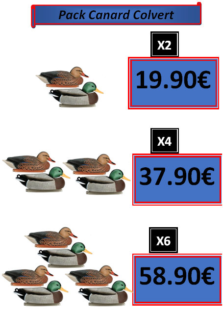 Pack promo canard colvert alevyn pêche chasse et loisirs Châtellerault Vinne