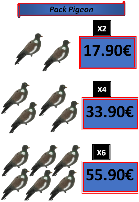 Pack Promo Pigeon Ramier alevyn pêche chasse et loisirs châtellerault vienne